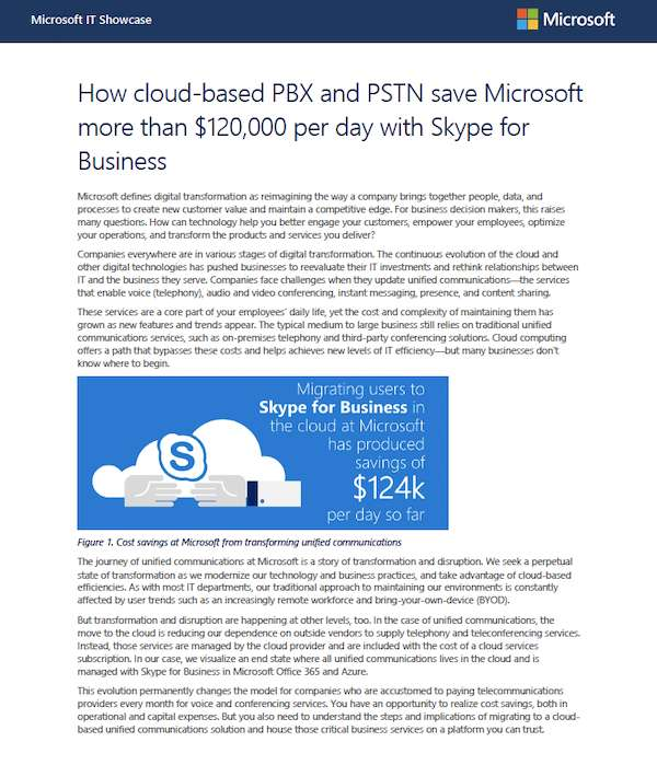 How cloud-based PBX and PSTN save Microsoft more than USD$120,000 per day with Skype for Business